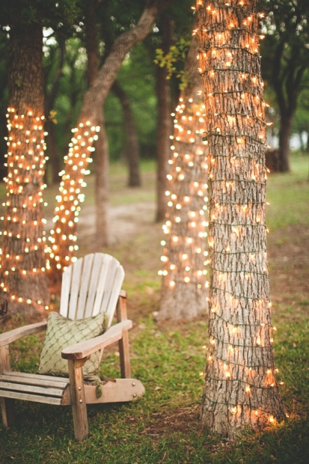 garden lights tree chair lighting chains decoration party outdoor christmas photography wedding reception cord photo beautiful