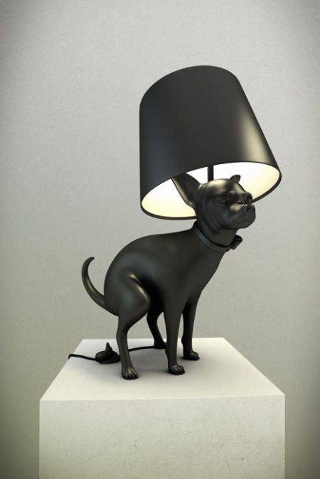 dog poo dump lamp black design light furniture inteior good boy  puppy popping lamp