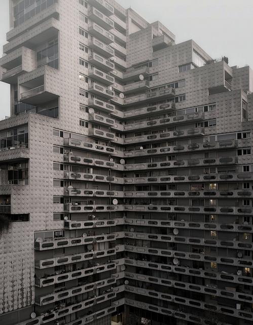 housing block social housing futuristic sci fi urban architecture dense population grey concrete housing plattenbau east european architectural photography