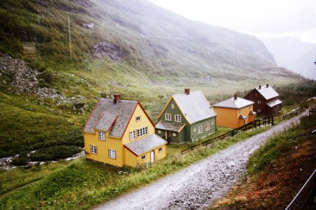iceland village houses landscape norway scandinavio cabin cottage houses traditional architecture mountains remote lonely village photographed