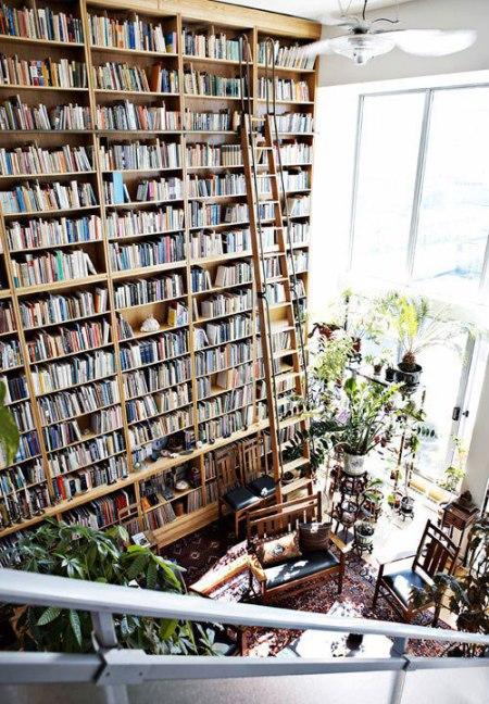 library bookshelf home books reading living interior design architecture ladder high book case