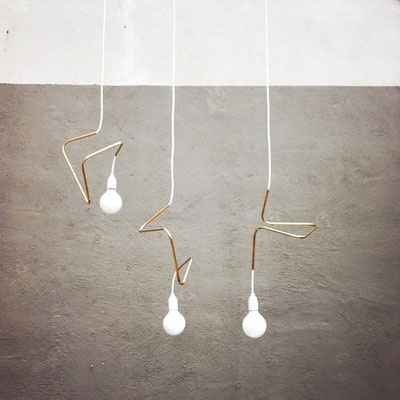 lighting light designer lamp design twisted wire white bulb interior design architecture