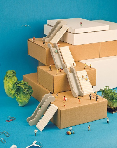 model cardboard architecture paper modelling funny cute architectural box board design art miniature figuers world