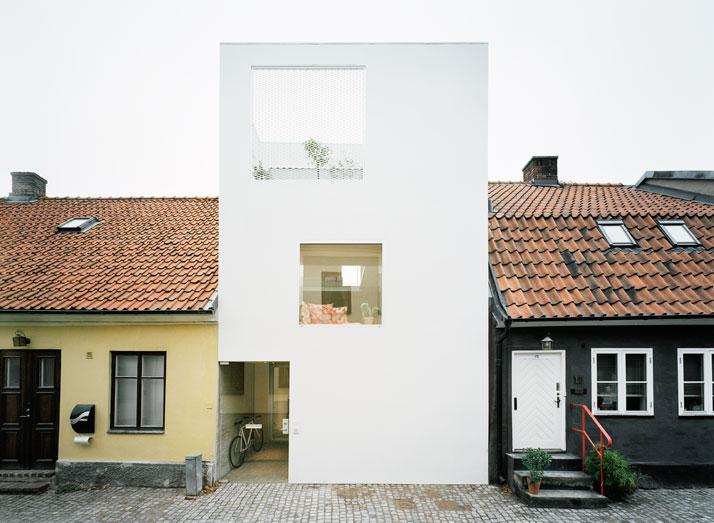 swedish modern white minimalist architecture town house