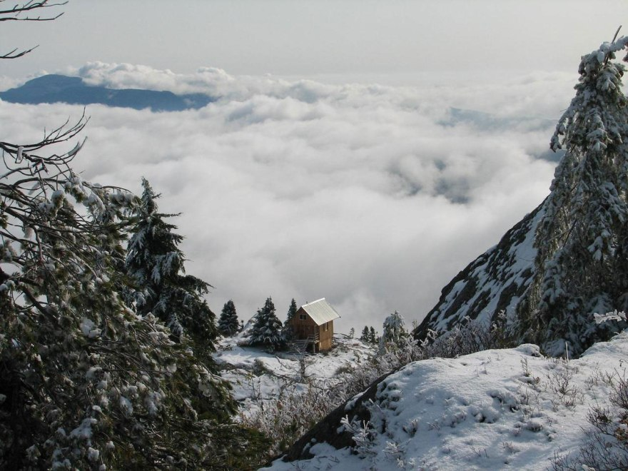 mountain winter cabin snow nature landscape
