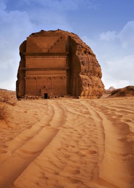Nabataean city, Saudi Arabia  Rock hewn Qasr al-Farid tomb at Nabataean city. photography archeology architecture ancient desert palace middle east saudi arabia travel adventure tours