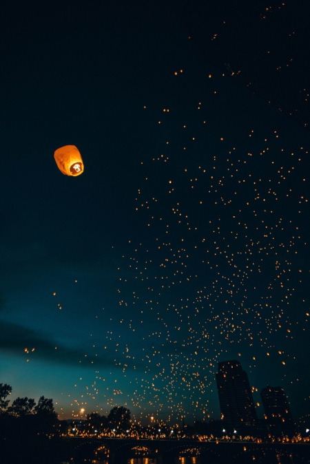 Nighty photograph of the famous Taiwan Paper Lantern Light Festival