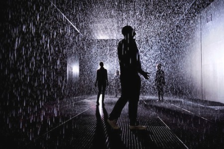 rain room london barbican led interactive exhibition sculpture art artist designers innovative rain not getting wet show architecture magic