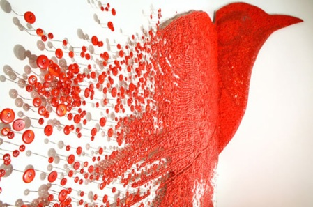 ran hwang artist push pin bird art piece sculpture exhibtion korean red pins prison escape photograph creative arts