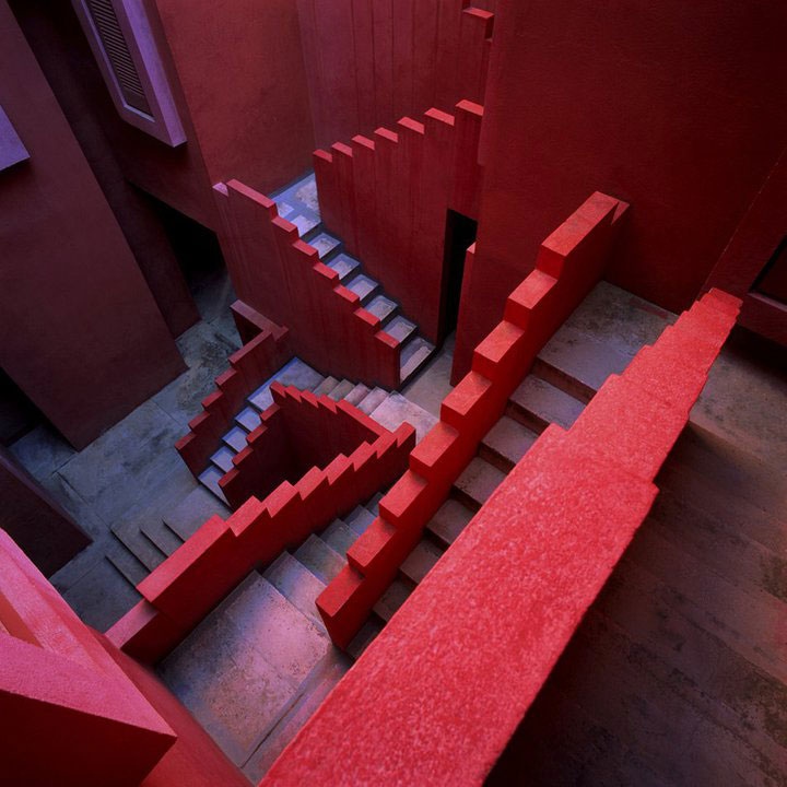 red wall staircase architecture