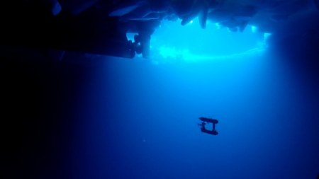 underwater photography Handout photo of a free-swimming robot submarine manoeuvring beneath sea ice in Eastern Antarctica