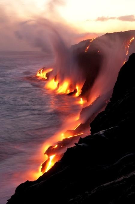volcano fire sea water lava ocean hawaii ocean travel adventure smoke nature national geographic photography