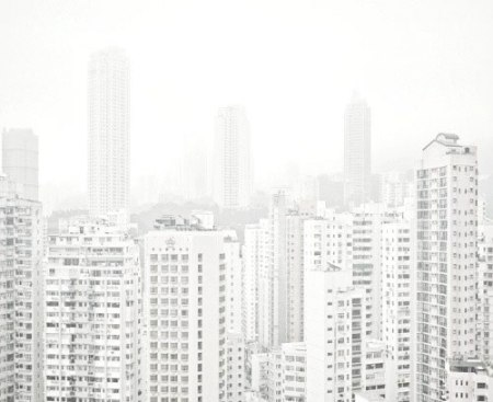 skyline white city fog architecture photography architecture hong kong city dense china population skyscrapers towers fog city . spring - silence series - contemporary landscape photography by Lam Pok Yin  white  architectural