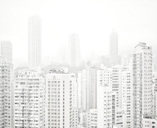 white city fog architecture photography