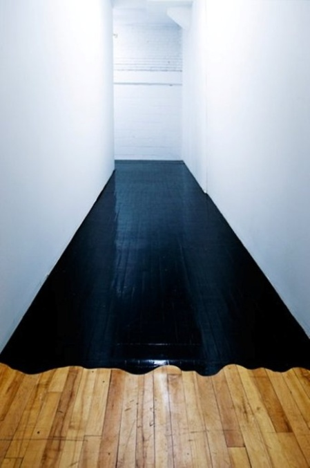 black paint floor hallway