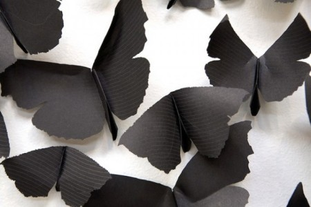 black paper moths cloud art installation mexican artist gallery interior church religion reference