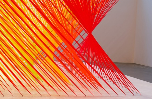Megann Geckler color red yellow tape vortext installation twisting sculpture movement lancaster gallery moah exhibition art artist LA based lines movement color