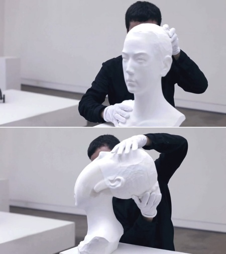 head art sculpture stretching skull li hongo chinese artist paper 3d art stretching layers of papers artist