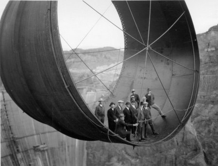 hoover dam construction black and white photograph Hoover Dam, Penstock, construction, Great Depression, United States, civil engineering, hydroelectric dam,
