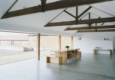 barn conversion minimalist architecture john pawson house residential modern white minimalism british horse in window standing