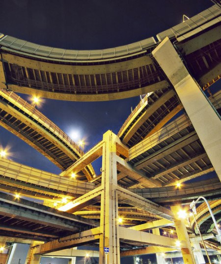 junction highway roads network bridge construction architecture crossover photography night tokyo japan