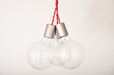 designer lights lamps interior architecture pendant bulbs red wire walnut steel fittings interior design architecture modern
