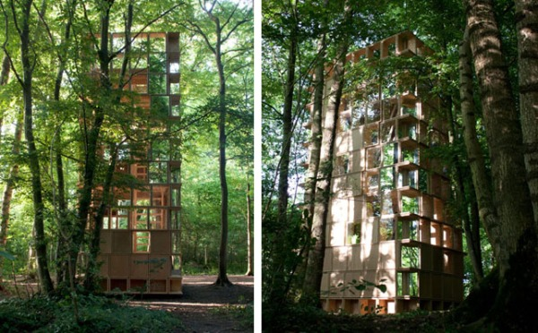 timber architecture L'Observatoire forest boxes stacked designed by clp architecture archi 20 festival france timber architecture