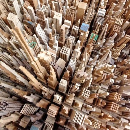 recycled scrap wood sculpture art artist mcnabb architecture city skyline skyscrapers carved out model laster cut timber wood
