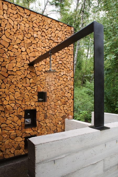 outdoor shower wood design cabin modern forest nature house interior architecture camp guesthouse nature holiday travel rustic interior decoration wood timeber stone natural materials