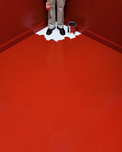 red paint floor corner