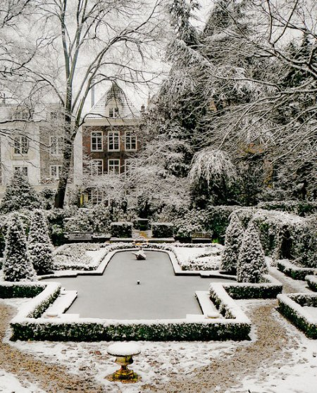 snow covered winter garden baroque romantic amsterdam museum backyard private gardens around the world photography