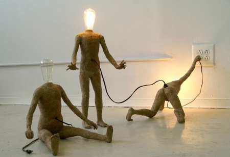 light figures art lamp sculptures people recycled material socket electricity bulb heads electricity