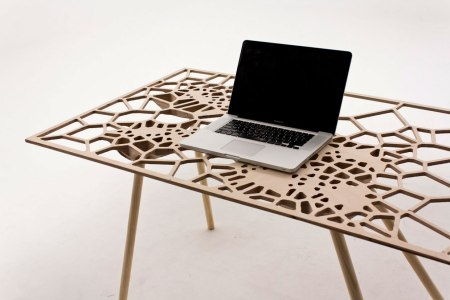 fall off table voronoi pattern surface density interactive web interface digital screen interface laptop lasercutting