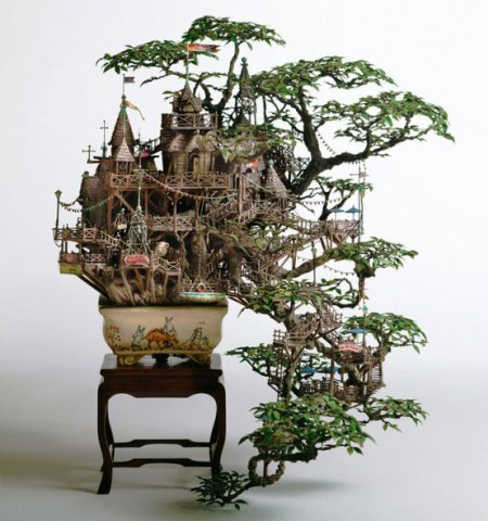 Takanori Aiba-bonsai sculpture made out of resin clay and stone tree house bonsai, artist art interesting sculpture tree branches grow towards the floor