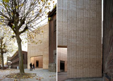brick architecture city context facade textile factory transformation renovation art center belgium architecture office