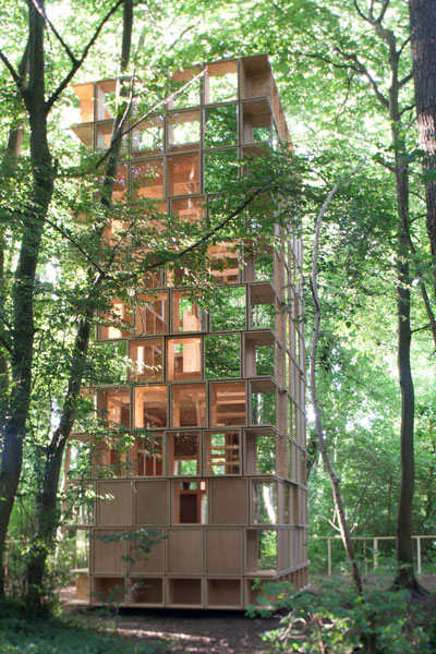 timber architecture L'Observatoire forest pavilion boxes stacked designed by clp architecture archi 20 festival france timber architecture