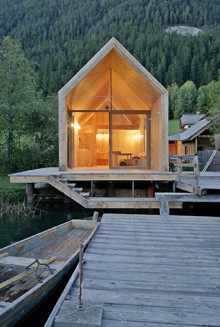 timber cabin architecture house Badehaus bath house lake austria timber wood larch construction beautiful serene holiday rent cabin wood architecture timber