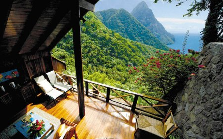 tropical island holiday house view Ladera Resort, St. Lucia, Carribean Sea amazing hotel greatest best view star hotal spa wellness holiday travel nature mountains landscape island