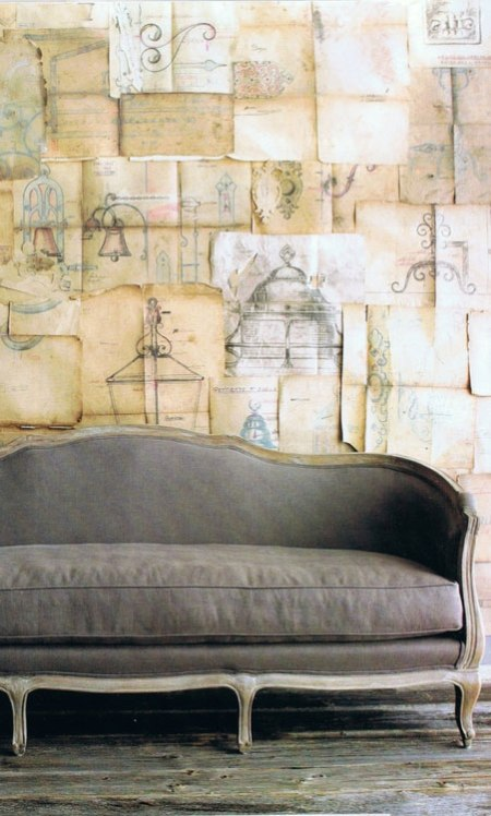 Luxurious Sofas From Jayson Home & Garden Spring Catalog vintage grey velvet sofa couch artistic wallpaper sketches drawings french sofa design interior decoration architecture