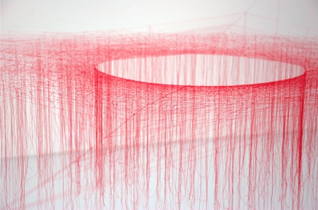 Silk string sculpture complex system artwork japanese artist exhibition vortice galaxy construction photography lightness delicate