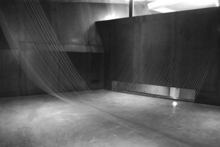 Silk string sculpture complex system artwork japanese artist exhibition vortice galaxy construction photography lightness delicate