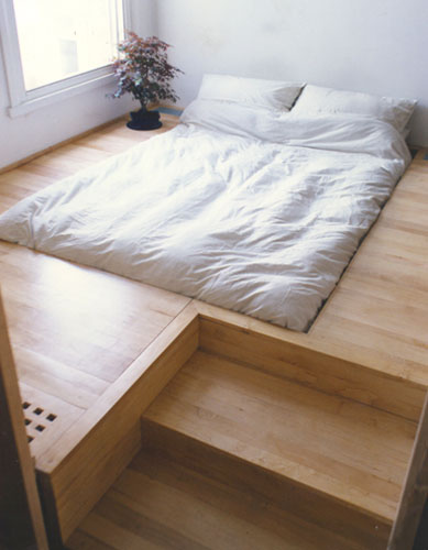 bed interior design floor bed bedroom furniture interior design sunken bed into floor hidden heating and storage space architecture