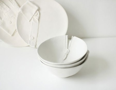ceramic bowl zipper art dinner bowl cutlery tableware dishes ceramic art sculpture white design funny cool