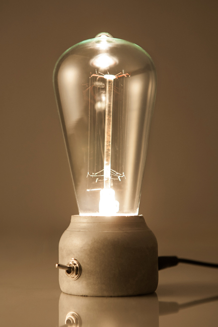 lamp light design switch recycled concrete LED lighting cool fun art bulb lighting
