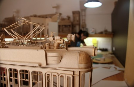 carboard boxboard sculptures models movie sets detail small scale complexcity architecture design glue pva amazing detailed model