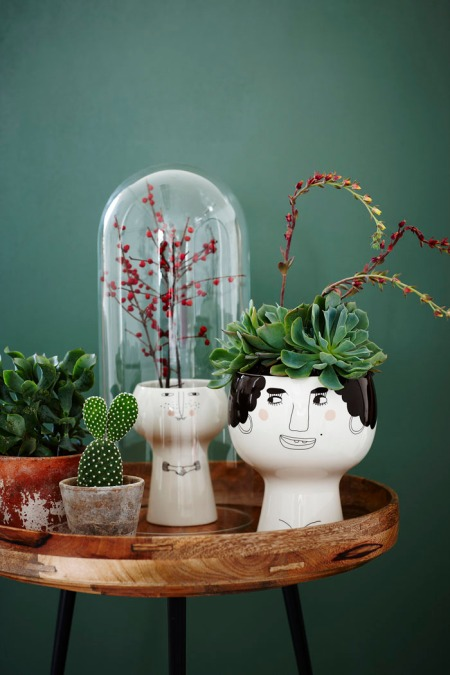 Flower Me Happy Pots personality cute drawing facesd danish design due funny art interior design decor style furniture home decoration plants