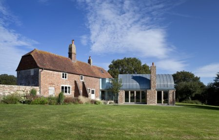 architecture farm conversion renovation refurbishment home house barn cabin weekend london architects england uk timber brick glass vault dome