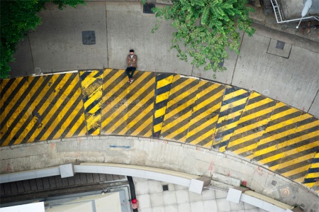 illusion optical photography upside down hong kong streets ad campaign street art