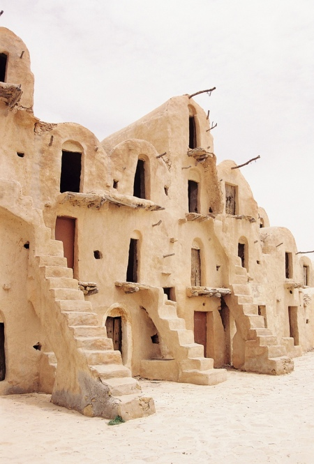 Berber Grain Storage Houses in the form of vaulted adobe buildings in the city of Tataouine in South Tunesia star wars movie location film set