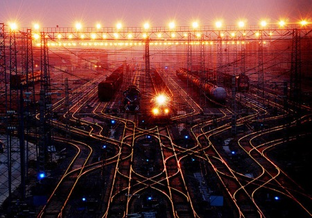 train station night tracks photography china, train station track lights night photography travel